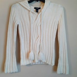 Express cable sweater /hoodie cream sz small Big16